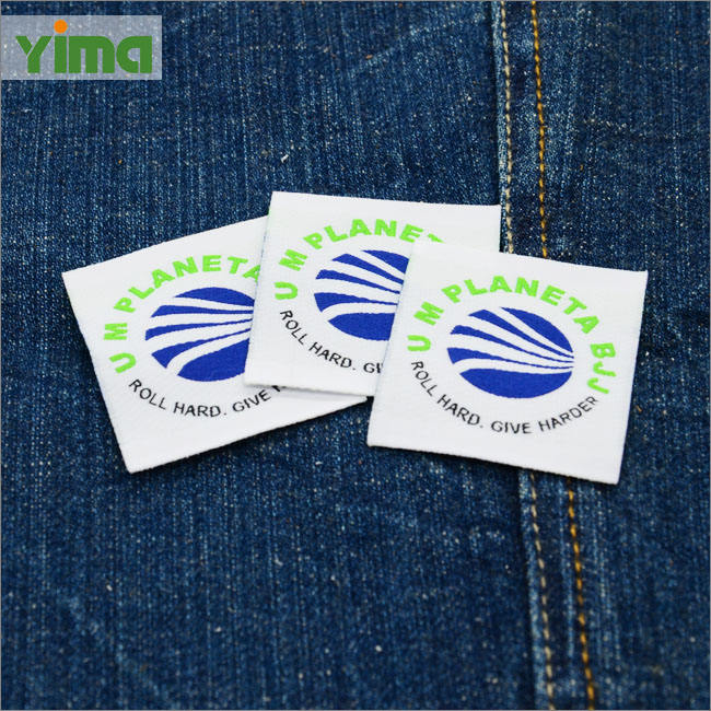 Custom Brand Name Garment Label End Folded And Center Folded Satin Fabric Sew On Soft Damask Clothing Woven Label