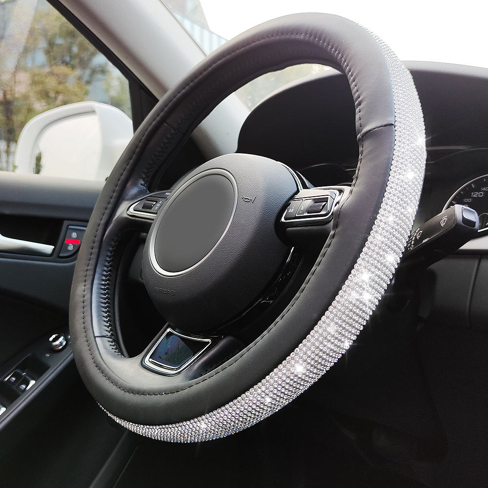 14-15 Inches New Arrival Bling Diamond Steering Wheel Cover Car , Car Accessories Steering Wheel Cover