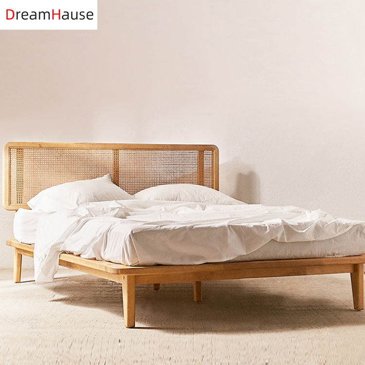 Dreamhause Nordic Solid Wood Rattan Light Luxury Modern French Japanese Style Bed Bed Room Furniture Hotel 1.8m Double Bed