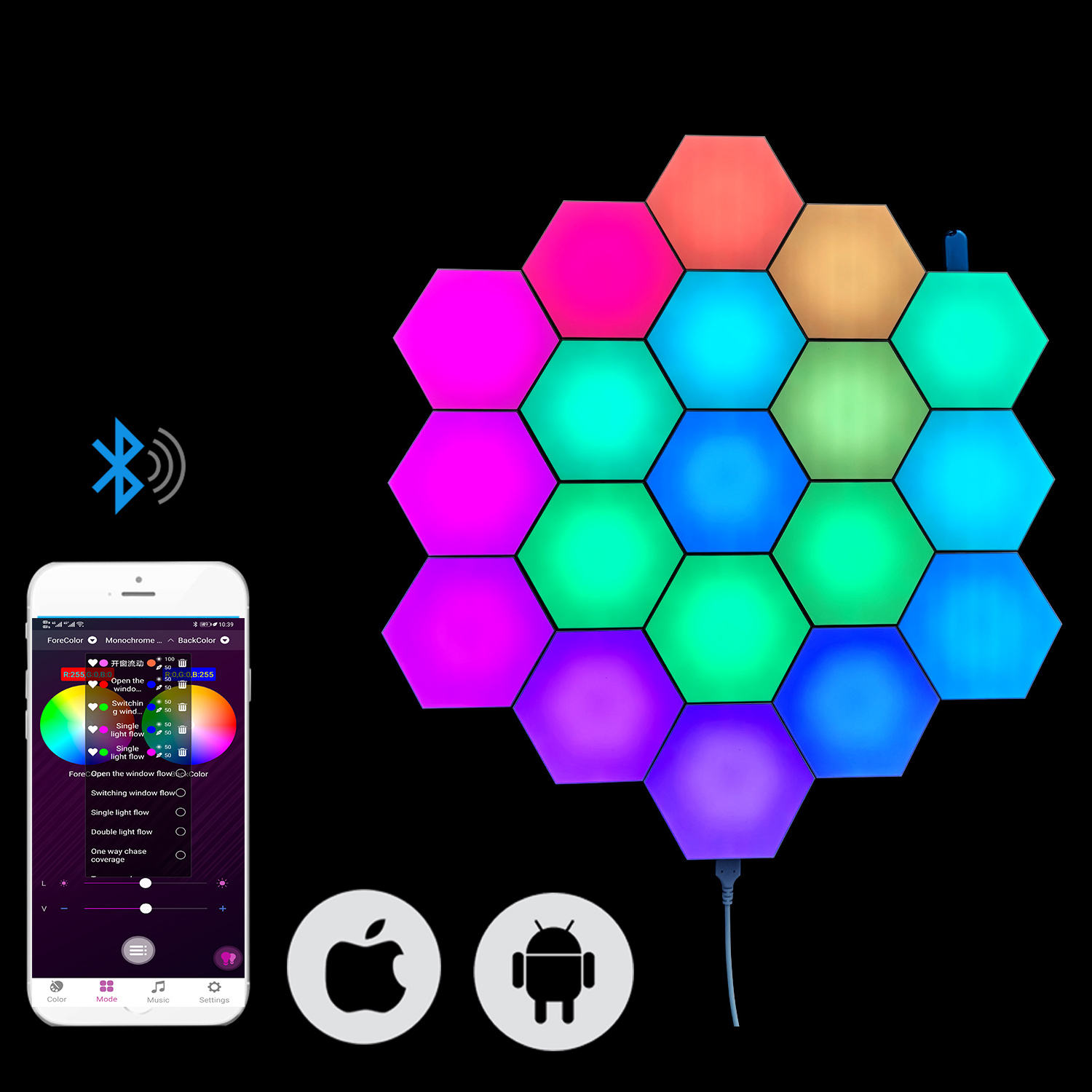 Mobile app Controlled LED Quantum Light 2020 NEW Honeycomb Module Light Hexagonal Combination Lamp for Wall Decoration