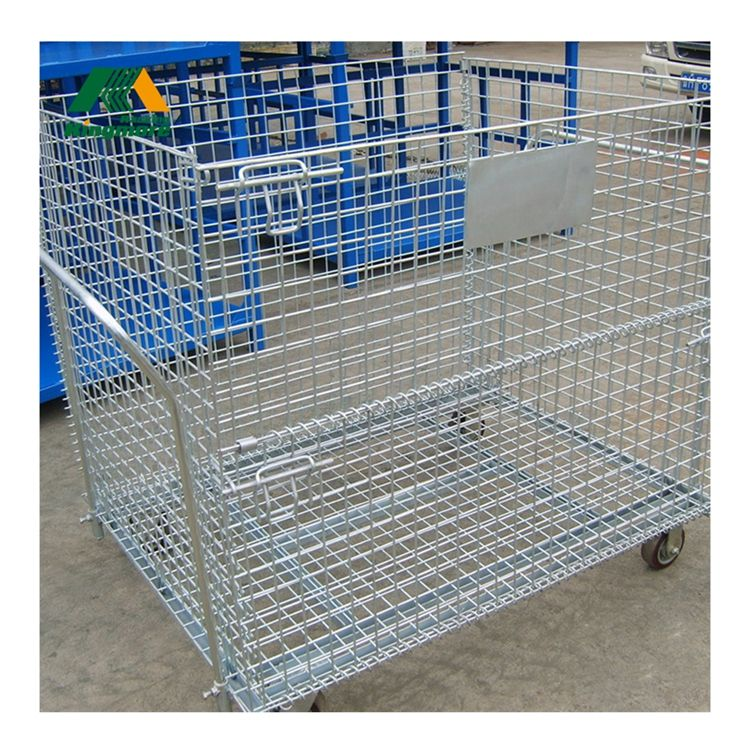 Stackable storage cage/folding wire mesh container/wire mesh cage