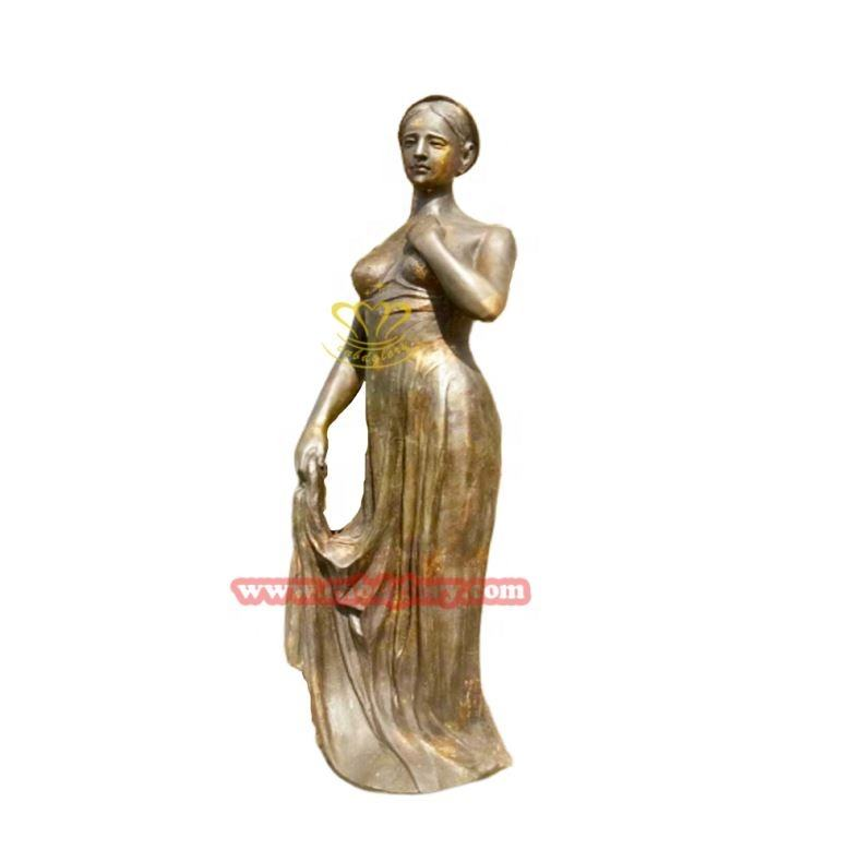 Life Size Bronze Girls Figure Metal Woman Female Statue