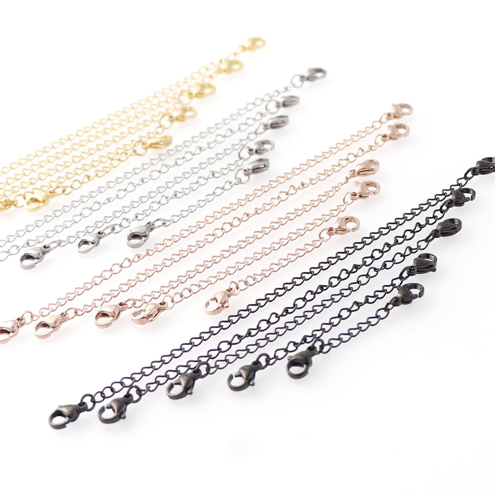 3pcs 4Colors Stainless Steel Extender Chains With Lobster Clasps Rose Gold Necklace Extension Chain For Diy Jewelry Accessories
