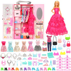 Fashion 69 Items/set Dollhouse Furniture Kid Toys = Wardrobe + 68 Dolls accessories Dress Clothes Shoes Handbag For Barbie Game