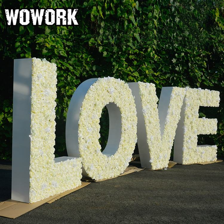 2020 WOWORK wedding big 4ft 5ft prop floral letter backdrop flower alphabet for wedding events celebration party stages