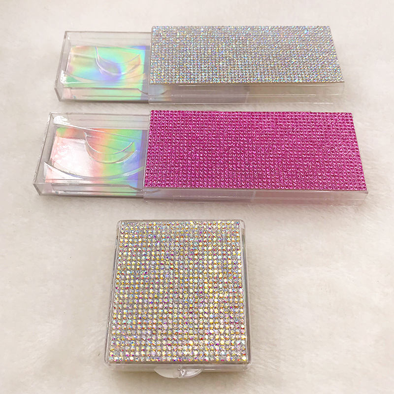 Nette Bling diamanten Leere Lash Fall Rosa Silber Bling Wimpern Box ohne Wimpern