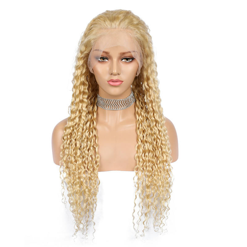 Curly [ Wig Kinky ] Fashion Style Full Lace Wig 613 Blonde Kinky Curly Peruvian Virgin Human Hair Glueless Lace Wig With Baby Hair