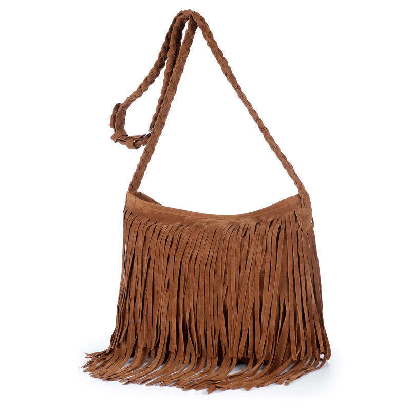 Women's Punk Satchel Tassel Suede Fringe Shoulder Messenger Cross Body Bag Shopping Beach Bag