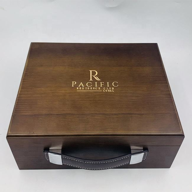 Customized Logo Luxury Storage Wooden Box With Leather Handle