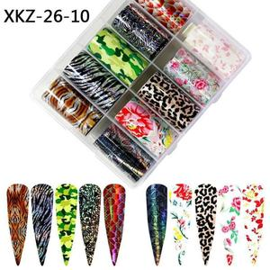 Leopard Print Nail Foil Transfer Slider Sticker Animal Starry Nail Wrap for Decal 3D Nail Art Decorations