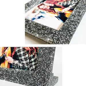 Suanti diamond polyresin table standing decorative art funny picture frame desk square nordic multi custom crystal photo frames