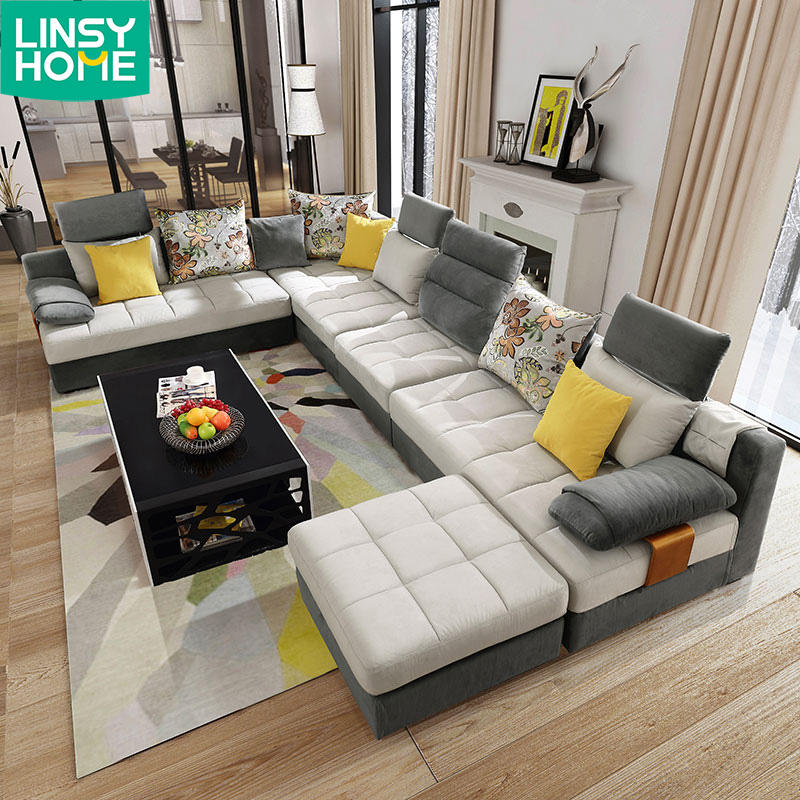 Living Room L Shape Corner Recliner Sectional Fabric Modern Sofa Set