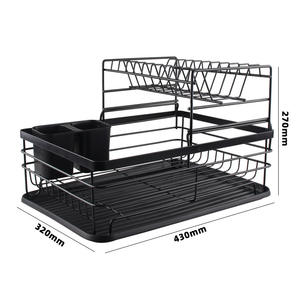 Removable Kitchen Hardware Organizer Storage Rack Aluminum 2 Tier Dish Drying Rack with Black Drainboard