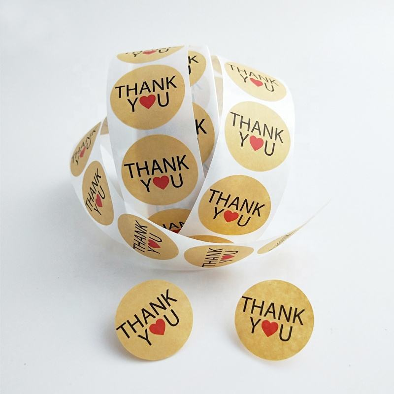 Custom Adhesive Printing Roll Kraft Paper Label Thank You Stickers