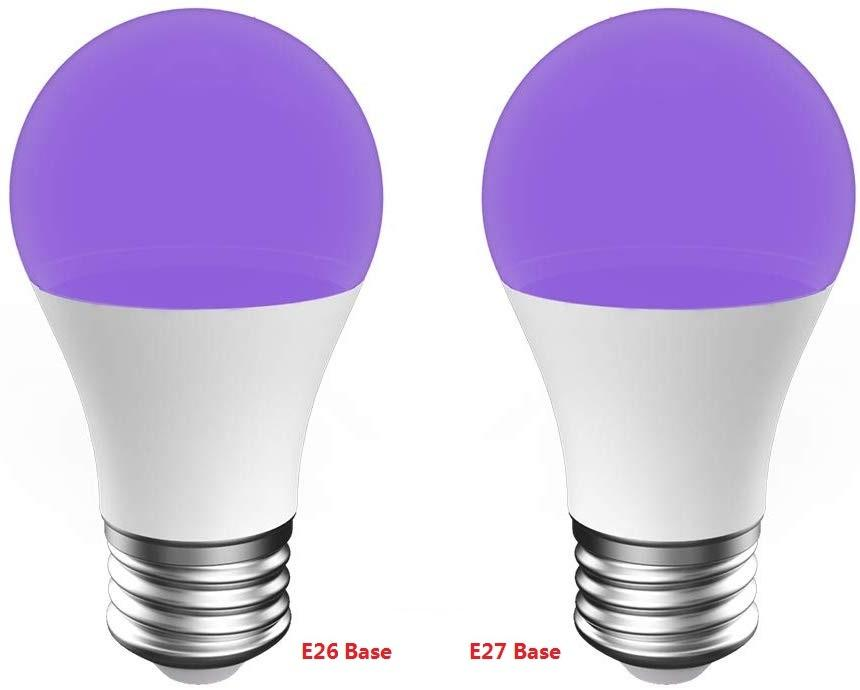 UV LED Black Lights Bulb 9W Ultraviolet A19 75Watt Equivalent B22/E26/E27 Medium Base Glow in The Dark for Blacklights Party