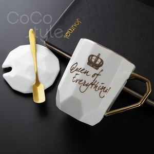 Cocostyles custom-made unique geometric ceramic gift mug with lid for fashion corporate promotional gift items