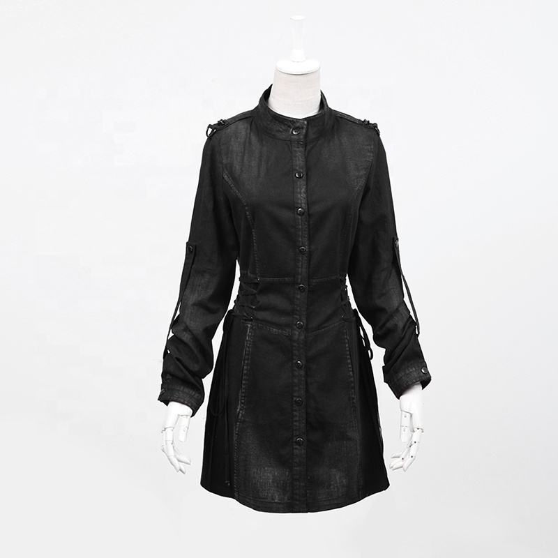 PUNK RAVE PY-041 Plus Size Garment Black Cotton Hemp Long Sleeves Stand Collar Sashes Waist Button Casual Dress