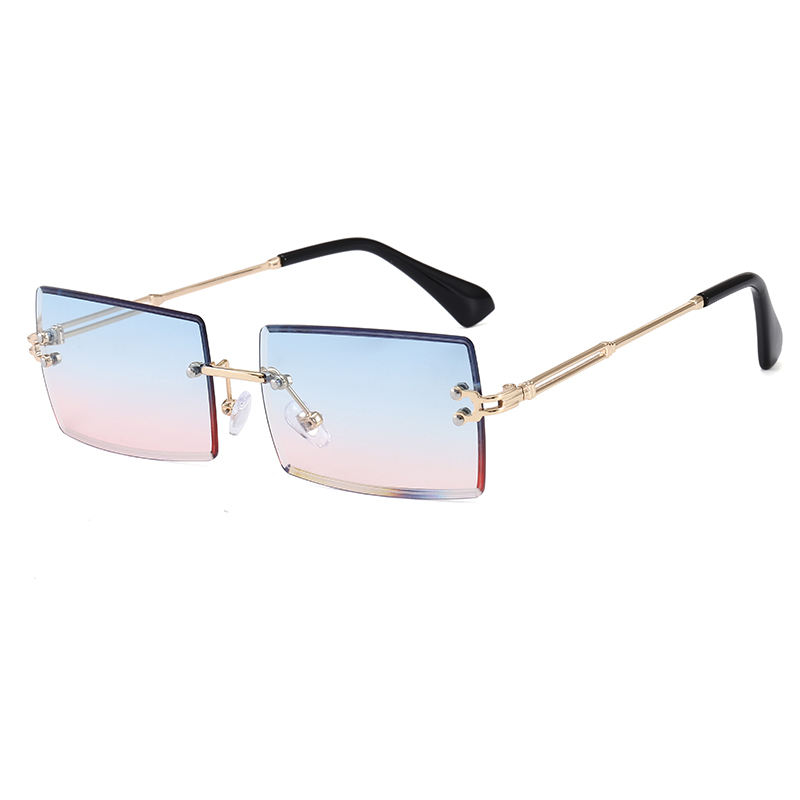 Superhot Eyewear A0365 Fashion 2020 Retro Vintage Men Women Tinted Small Rectangle Rimless Sunglasses