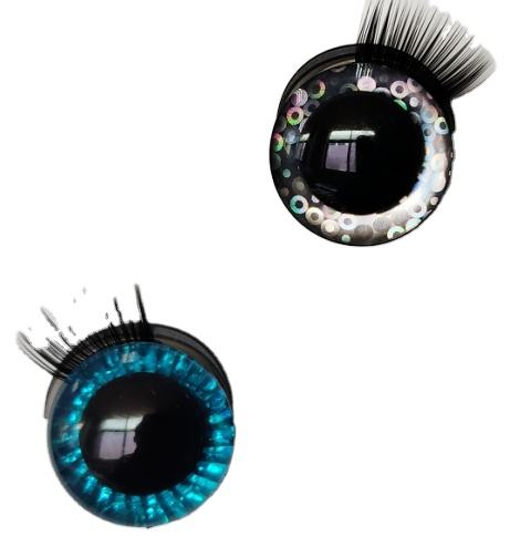 PATENTED Plastic crystal big glittery shiny sparkle toy eyes 35mm with 3D eyelash for plush stuffed soft toys