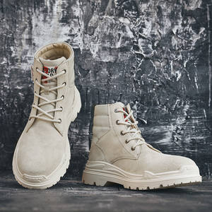 Factory wholesale casual shoes men leather comfortable high ankle boots outdoor waterproof trendy sports shoes