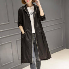 Cheap Price Long Sleeve Hooded Thin Long Trench Coat For Women Autumn Casual Waterproof Coat With Big Pockets