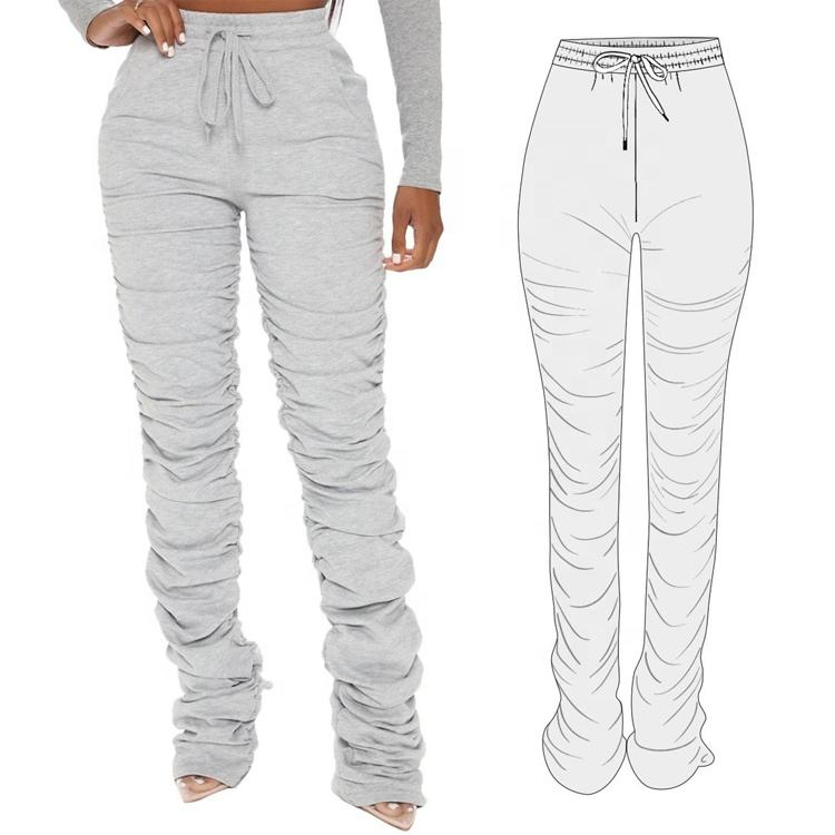 Female Solid Stacked Pants Casual Legging Women Sweat Jogger Sexy Slim Pleated Pants With Ruched Sides