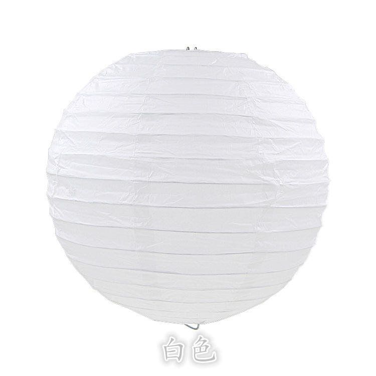 Chinese Round Hanging Led White Paper Lantern For Wedding Party