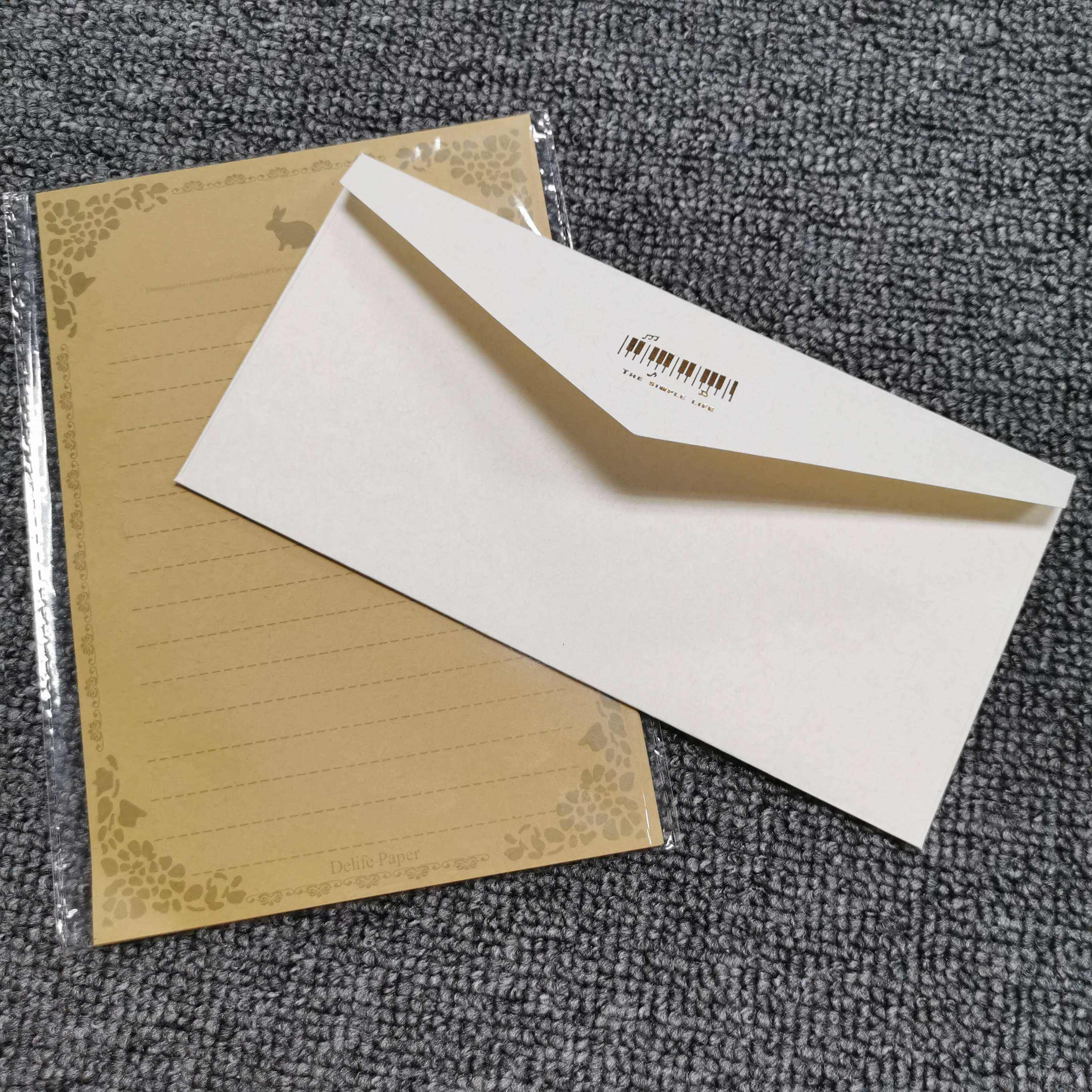 Custom color pearl good quality kraft paper thank you card cheap envelope with foil and printed logo
