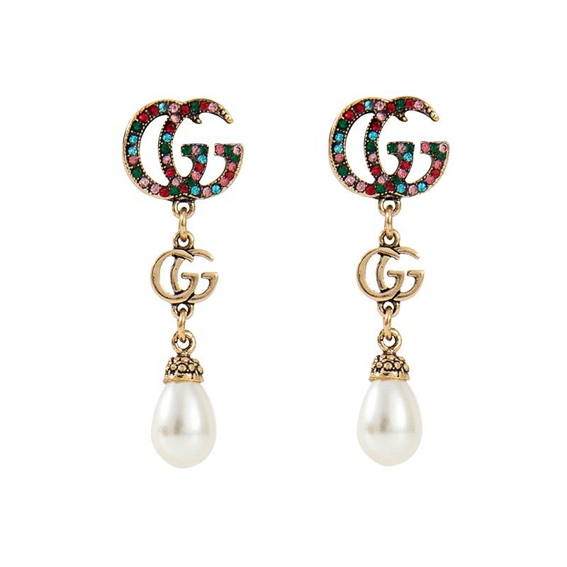 2020 sumando newest famous brand pearl gg hoop earrings