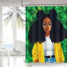 72 x 72 inch Africa Black Girl Magic African American Premium Fabric afro print shower curtain