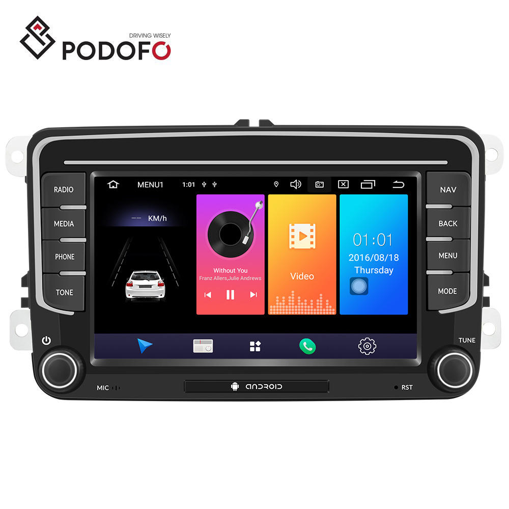 "Podofo Android 9.0 Car Radio 7"" Autoradio GPS Wifi 3G 4G For VW PASSAT POLO GOLF 5 6 TOURAN TIGUAN SEAT SKODA"