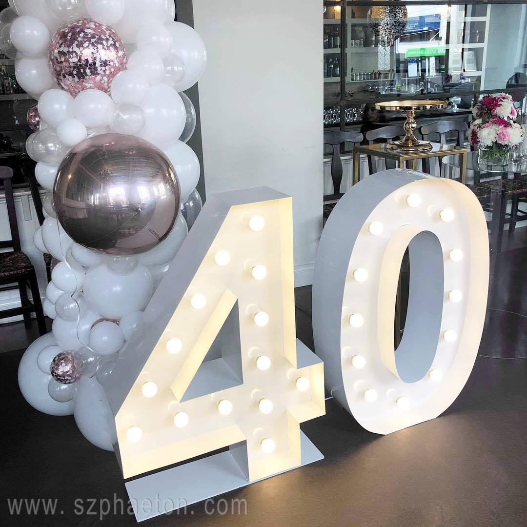 Party decorations 40th birthday, giant led light up marquee numbers letters for birthday party supplies
