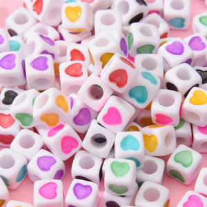Wholesale Acrylic Square Cube Heart Shape 7mm Beads For Kids DIY Jewelry