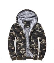 Winter hoodie Men Thick Fleece Warm Zipper up Camouflage Sweaters mens Fashion Hooded Hoody Coats Jacket Plus Size 5XL