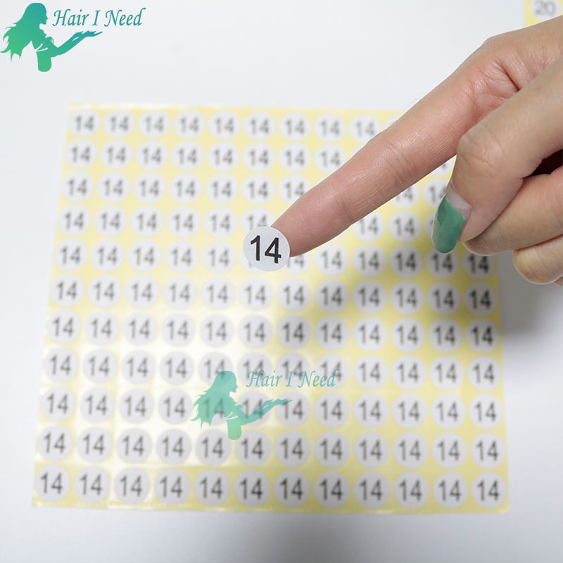 Consecutive adhesive Paper Printed Number Stickers for hair length 10 inch to 32 inch