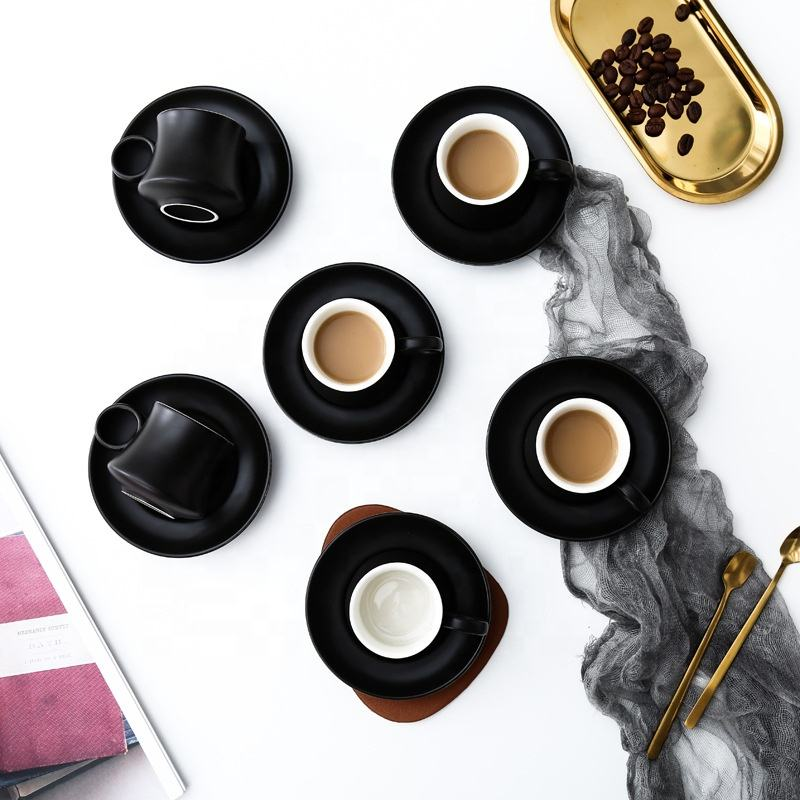 Unique shape Black Creative Espresso Porcelain Coffee coffee tea cup plate set Turkish Ceramic Cup and Saucer Set