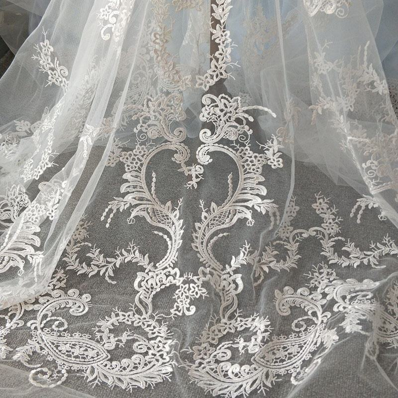 Couture Style Elegant Sequins Floral Embroidered lace Fabric For Bridal Dress Or Other Costume