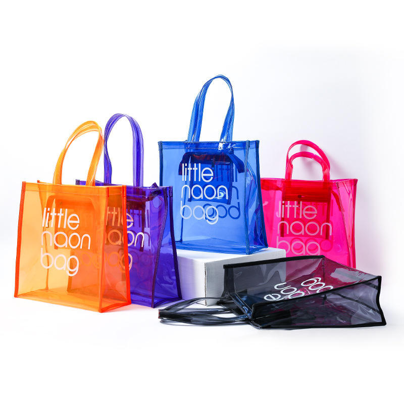 2020 fashion large clear pvc tote bag beach bag plastic shopping bag with own logo