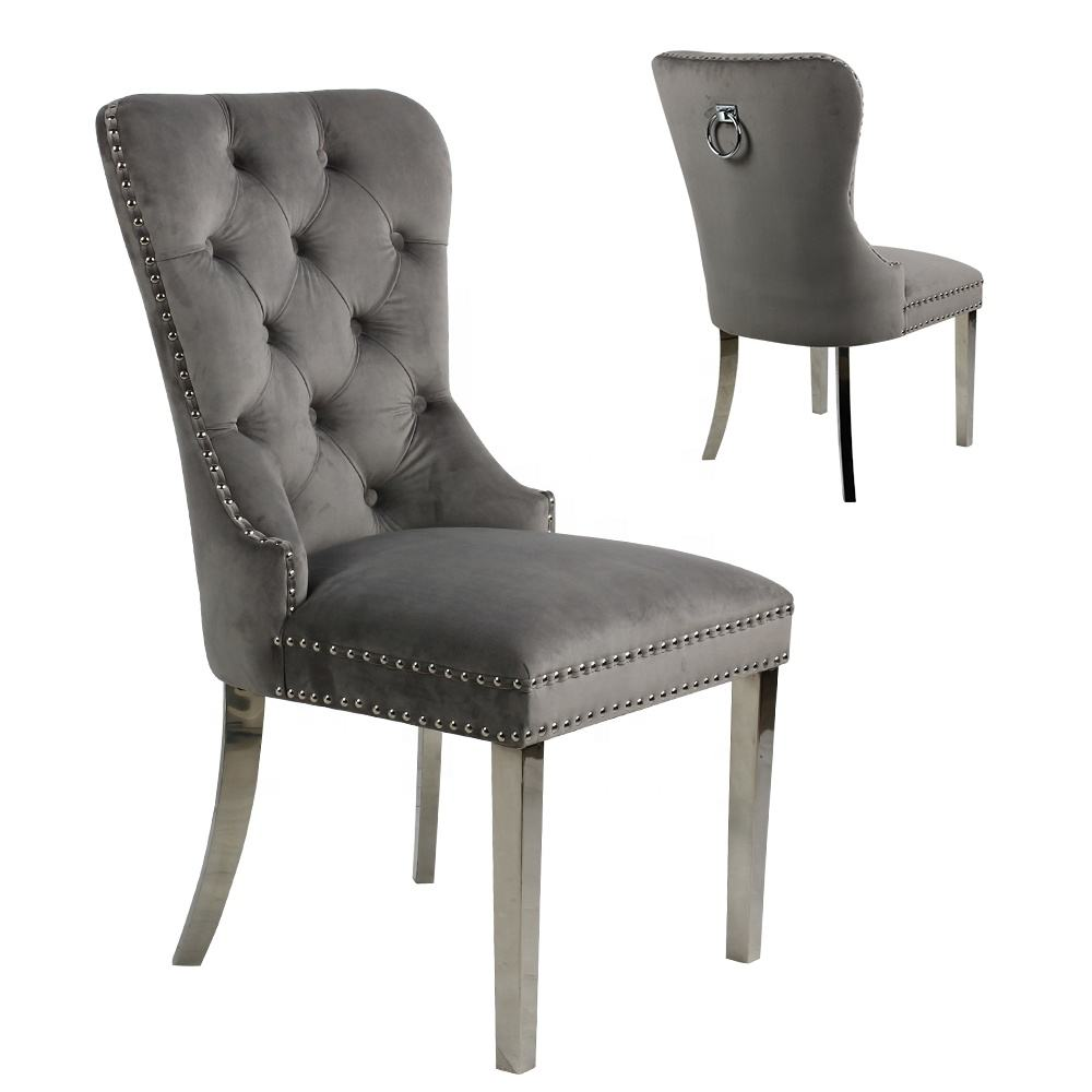 Wholesale Modern Home Furniture Ring Back Stainless Steel Legs Velvet Fabric Tufted Dining Chair