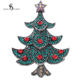 China Factory Direct Sale Rhinestone Christmas Tree Brooches