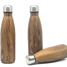 RTS Promotional gift 16oz wood insulated coke thermos stainless steel vacuum flask ready to ship