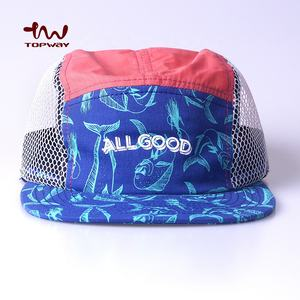 OEM Custom Breathable 5 Panel Full Mesh Running Camper Hats With Sublimation Print
