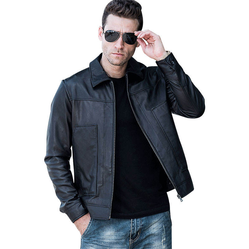 Men's Real Leather Jacket Men Casual Cowhide Leather Coat with Turn-Down collar