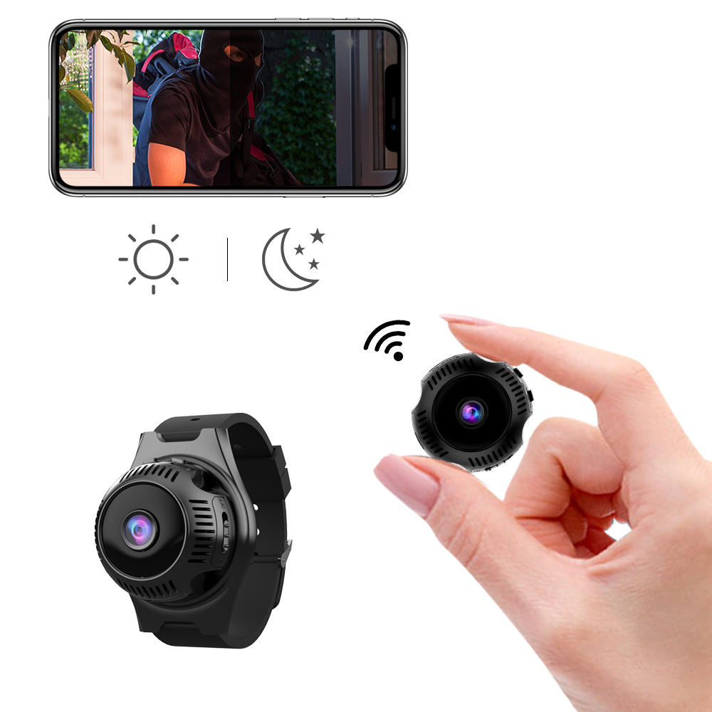 Mini Camera with Wrist Strap Wireless Hidden WiFi Security Camera 1080P Night Vision Motion Activated Indoor Outdoor Nanny Cam