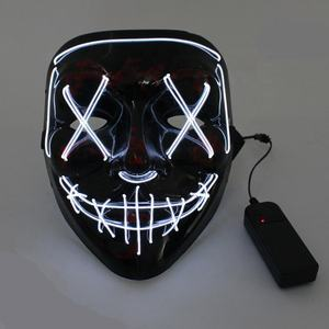 Mask Halloween Glow Mask Halloween Decoration Light Up DJ Party Neon Glowing El Wire Rave LED Party Mask