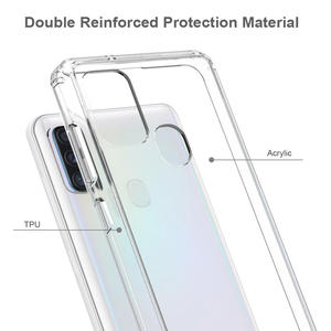 Clear tpu acrylic cellphone case for samsung A21S high quality transparent phone case with airbag corners shockproof