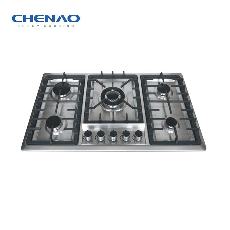 Home Appliance Cooktops 5 Burner Gas Hob Stainless Steel Gas Stove