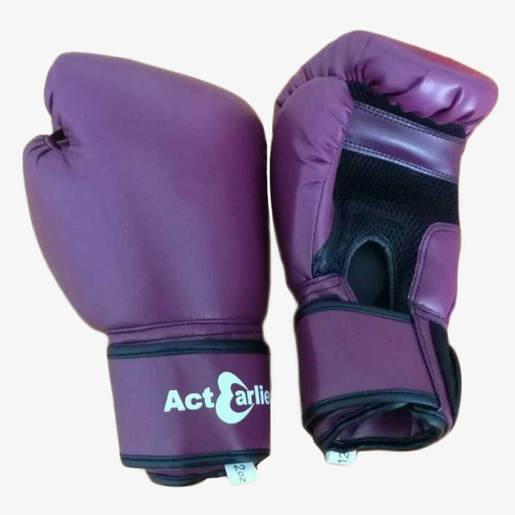ActEarlier Gym fitness training adult size limited edition purple color 12oz microfiber PU boxing gloves