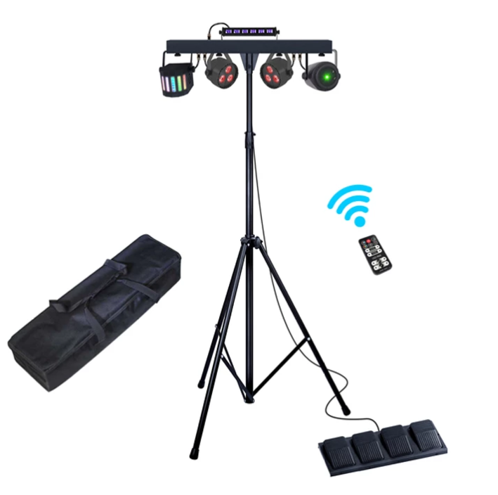 1 LOT 3-IN-1 PAR LIGHT + DERBY + LASER MULTI-STAGE LIGHT SYSTEM PORTABLE DJ EQUIPMENT WITH CARRY BAG WIRELESS FOOTSWITCH