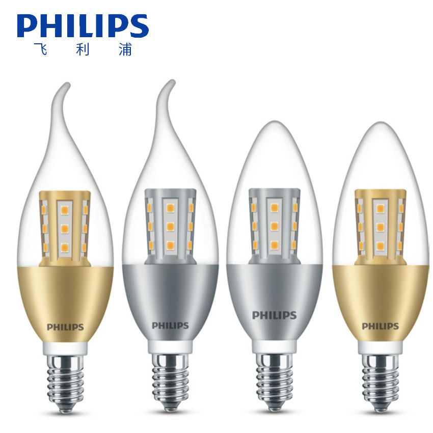 Candle Bulb PHILIPSLED 220V Warm White 3000K E14 Clear LED Candle Bulb For Incandescent Lamp